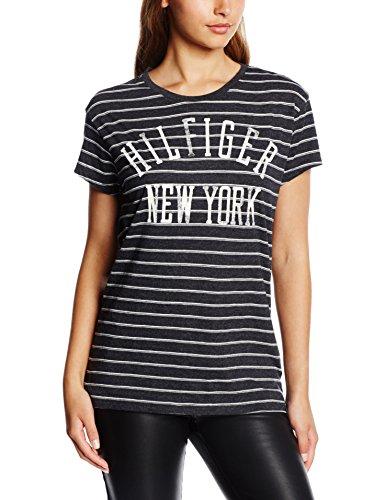 Hilfiger Denim Damen Thdw CN T-Shirt S/S 14, Blau (Navy Blazer/Egret 901), 36 (Herstellergröße: S)