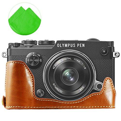 First2savvv XJPT-PENF-D09G11 Gehäusehälfte präzise Passform PU-Leder Kameratasche Fall Tasche Cover für Olympus PEN-F PEN F mit Reinigungstuch (Sd-pen)