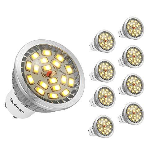 Jpodream® 6W GU10 LED Lampe, Ersetzt 60W Halogenlampe, Warmweiß 3000K, 140°Strahlwinkel Reflektorlampen, 550 LM, AC85-265V, Nicht Dimmbar - 8er Pack