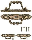 FUXXER® - 2x Antik Griffe klappbar | Schubladen, Truhen, Schränke, Kommoden, Küchen | Antik Bronze Vintage Design 10,5 x 2cm | 2er Set mit Schrauben