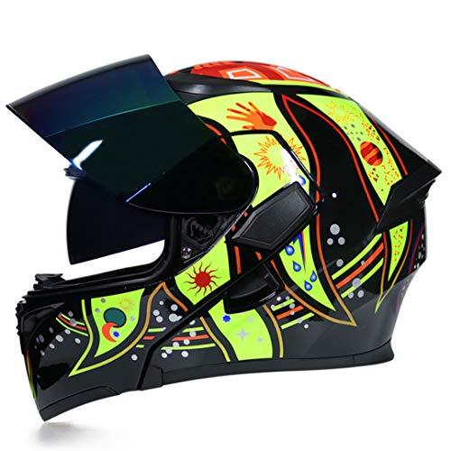 MetHlonsy Motorradhelm Männer und Frauen Motorrad Helm Double Lens Helm c6 L (C6-cam)