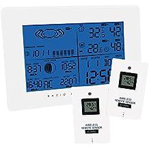 7 Lingue Previsioni meteo di monitoraggio della temperatura Clocks esterna senza fili per esterni e interni umidità w / Clock Radio Controlled RCC + 2 sensore remoto Stazione Meteo