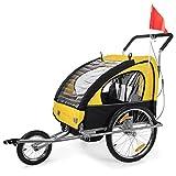 SAMAX 2 in 1 Rimorchio Bicicletta Passeggino Bambini, Portabambini Bici Transporto Sicurezza Completamente Ammortizzato, Rosso