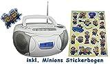 Denver tragbares Radio, CD, Kassettenspieler, Aux-In, Batterie und Netzbetieb, inkl. Minions Sticker (Weiß)
