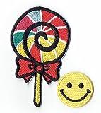 Candy Hippie applique brodé de fer sur les patchs avec des patchs petit Smiley jaune par PATCH CUBE par patch cube
