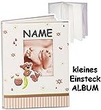 Unbekannt kleines Einsteckalbum / Memoalbum / Fotoalbum -  süßer Teddy Bär & Babyfüße  - incl. Name __ Kinderalbum - bis zu 32 Bilder & Fotos - Gebunden zum Einstecke..