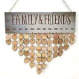 LUFA Famille en bois Anniversaires Tag Hanging bricolage Calendrier bois Kalendar Rappel Plaque Conseil Avis Home Decor Love Heart