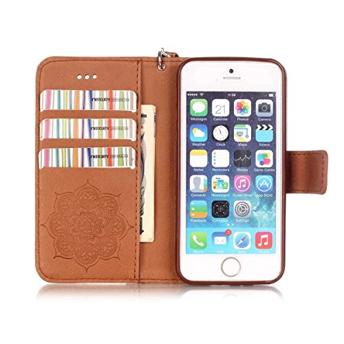 iPhone Case Cover Gemaltes Farbenmuster-Mappenartkasten magnetisches entwerfen Flipfolio PU-Lederabdeckung Standup-Abdeckungsfall für iPhone 5S SE ( Color : Black , Size : IPhone 5S SE ) Brown