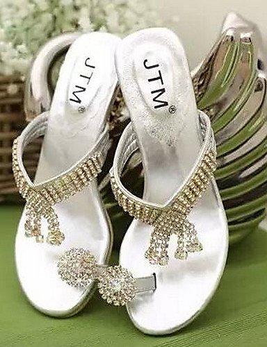UWSZZ IL Sandali eleganti comfort Scarpe Donna-Sandali-Casual-Aperta-Piatto-Finta pelle-Argento / Dorato Silver
