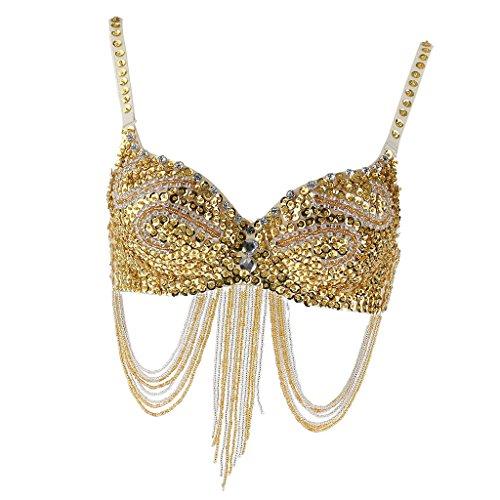 MagiDeal Vintage Bauchtanz BH mit Sequin Perlenschnur Streifen und Quasten - Gold (Vintage Bauchtanz Kostüm)