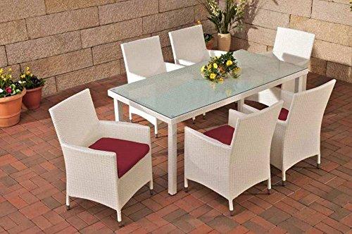 Gartenmöbel, Gartenmöbel-Set, Sitzgarnitur Florenz, rubin-rot / weiß, Polyrattan-Aluminium-Gestell, Gartengarnitur, Sitzgruppe