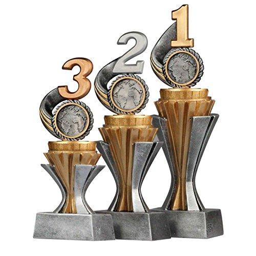 """kaufdeinschild Pokalset, Trophäen Zahl/Platz 1,2,3"""" mit Sockel in Gold/Silber 3 Stück Größe S, M und L"""