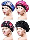 4 Stück Satin Mütze Schlafmütze Weiche Nachtmütze Kopfhaube für Damen Mädchen (Farbe Satz 3)