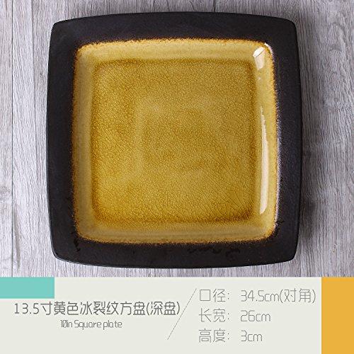 Fashion Square Keramikplatte Pasta Bowl Western Restaurant Klette Großes Quadrat Hotel Restaurant Cafe Geschirr Set Tisch Gelb 34,5x26x3 cm