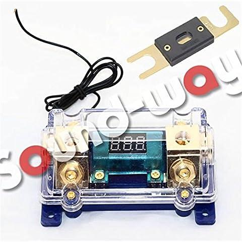 Porte-fusibles ANL professionel pour amplificateur voiture avec Voltmètre Digital pour ampli sono + fusible 200 amp