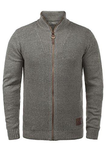 !Solid Tristian Herren Strickjacke Cardigan Feinstrick mit Stehkragen und Reißverschluss, Größe:XL, Farbe:Grey Melange (8236)