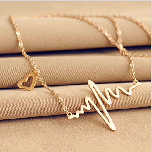 Gold Finish Electrocardiogram Heart Beat Metal Alloy Pendant Necklace By ITS