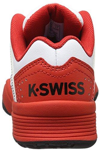 K-Swiss Performance Jungen Court Impact Ltr Omni Tennisschuhe Mehrfarbig (White/Fiery Red/Black)