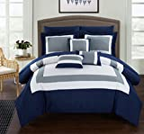 Chic Home 10 Piece Duke Patchwork Color Block Complete Bed In a Bag Comforter Set of Sheets, Queen, Navy