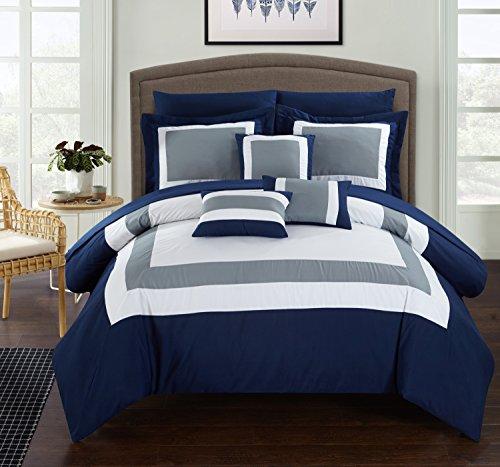 Chic Home 10Stück Duke Patchwork Color Block komplett Bett in einem Beutel Tröster Set der Bettwäsche, King, Marineblau