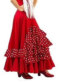 Falda de NIÑA para Baile Flamenco o sevillanas, Cinco Volantes en Cascada, Lunares pequeños Blancos
