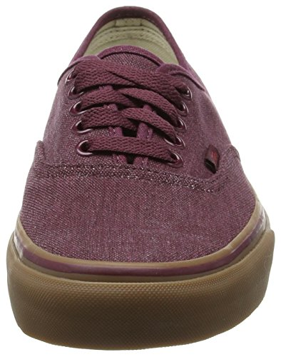 Vans Authentic, Sneakers Basses Mixte Adulte Rouge (Washed Canvas/Port Royale/Gum)