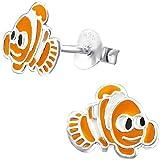 JAYARE Clown-Fisch Kinder Ohrstecker 925 Sterling Silber Emaille 8 x 10 mm orange Mädchen Ohrringe