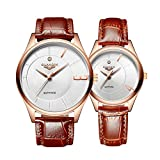 guanqin Analog Quarz Armbanduhr 1Paar/2PCS Echt Leder Band Romantische Fashion Business Herren Frauen Paar Armbanduhr Set Gold Weiß Braun