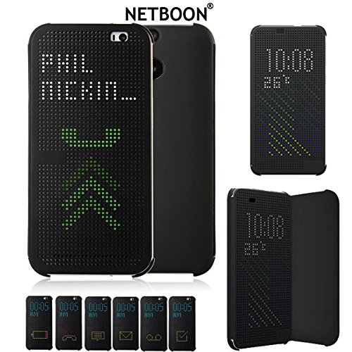 NETBOON® 2017 New Arrival Dot View Sensor Flip Cover Case For HTC One M9 Plus – Black