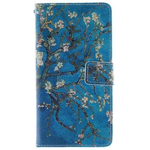 Alcatel One Touch Pop C9 Hülle,Alcatel One Touch Pop C9 Case [Perfect Fit], ISAKEN Zeichnung Drucken Bunte Muster PU Leder Flip Magnetverschluss Wallet Kreditkarte ID Card Slots Handy Hülle für Alcatel One Touch Pop C9, Tasche für Alcatel One Touch Pop C9, Muster Ledertasche Hülle für Alcatel One Touch Pop C9 - Blue Plum Flower Tree