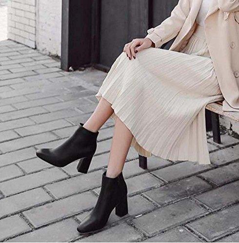 Femmes 7.5 Cm Chunkly Étoiles En Forme De Pied Bottes Pure Couleur Chaussures Cheville Bottes Pied Star Bottes À Talons Noir