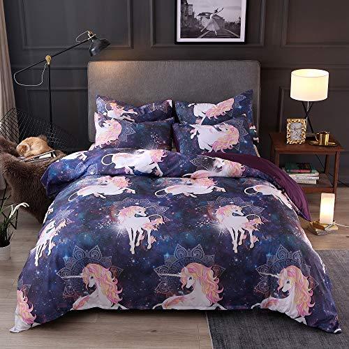 Funda nórdica unicornio, 1 funda de edredón y 1 funda de almohada, color morado, poliéster, Single