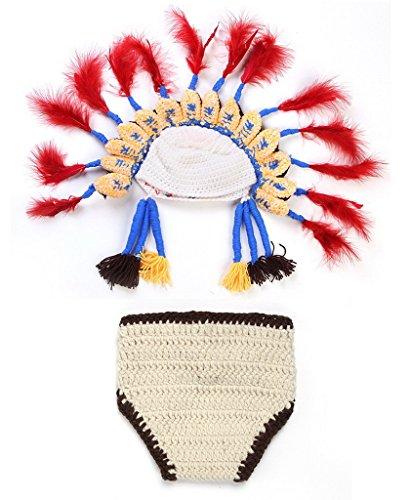 Smile YKK Fotografie Photographie Kostüm Neugeborene Baby Foto-Shooting-Set Indianer Beige (Baby Indianer Kostüm)