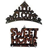 PEBBLE CRAFTS Handcrafted Wooden Key Hanger   Key Holder - Welcome And A Sweet Home Set Of 2   Wall Decor   Key Holder   Wall Hanging For Home Decorative Gifts