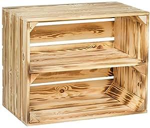 Caisse en bois de pommier flambé avec planche intermédiaire supplémentaire, pour ranger les ...