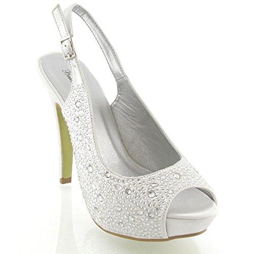 Onlineshoe Damen Peep Toe Satin Braut Hochzeit Schuhe Pumpen Weiß Satin