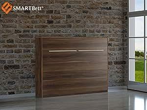 smartbett horizontal klappbett g stebett schrankbett liegefl che 140x200cm pflaume wallis. Black Bedroom Furniture Sets. Home Design Ideas