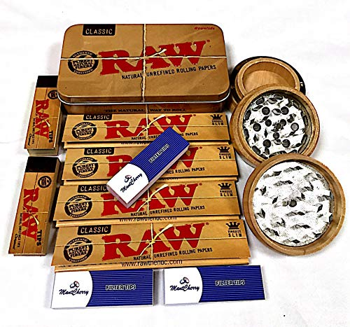 MontCherry Special Deal Tips, Raw Classic Blechdose, 4 Raw Classic King Size Zigarettenpapier, 2 Bücher, Raw Rolling Tips (3-teilig, 60 mm) Holz Crusher Deal for You and Your Loved Ones by Trendz