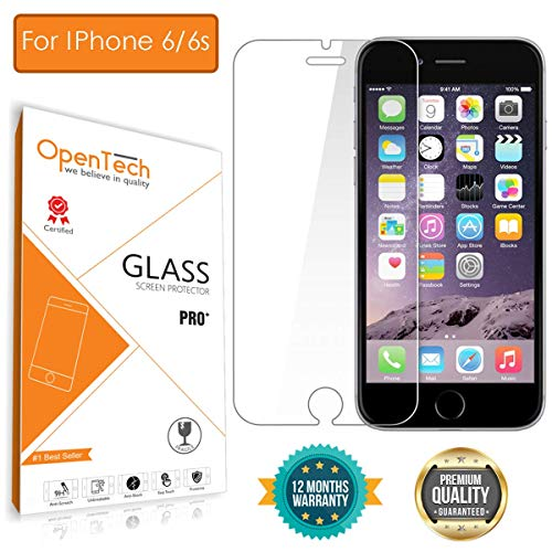 OpenTech Apple iPhone 6 / 6s Tempered Glass Screen Protector with Installation kit (2.5 D and Full Transparent)