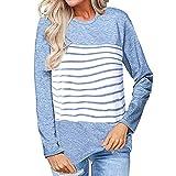 IZHH Damen Langarm Pullover, Farbblockstreifen Patchworkhemden Tops Tunika Langarmbluse Damen Gestreiftes Langarmshirt T-Shirt Top Party Outdoor Daily Tops(Blau,XX-Large)