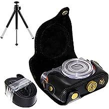 First2savvv XJPT-G9X-01G6 Funda Cámara cuero de la PU cámara digital bolsa caso cubierta con correa para Canon PowerShot G9X G9 X negro + mini trípode