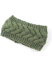 SODIAL(R) Women Lady Girls Knitted Twist Crochet Hair Band Ear Warmer-Pickle Green