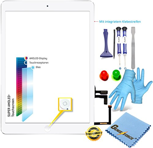 Retina Touchscreen Glas Digitizer WEIß für iPad Air, 5. Gen Display, Assembly mit LVA Flexkabel, Homebutton - inkl. 9-in-1 Profi Werkzeugsset WEIß White -