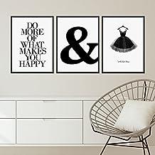 3er Set Design-Poster mit Bilderrahmen Schwarz 30x40 cm schwarz-weiss Motive Typographie Dekoration Modern