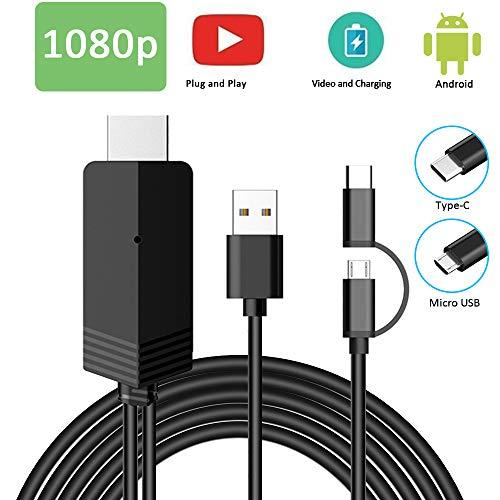 MHL zu HDMI Kabel 6.6FT, Weton 2 in 1 USB Typ C/Micro USB zu HDMI Kabel 1080P HDTV Telefon zu HDMI Adapter für Android Smartphones Samsung LG Huawei,Digitaler AV Adapter zu TV Monitor Projektor Hd-telefon