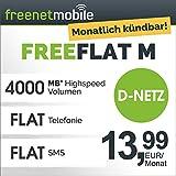 freenetmobile freeFLAT M im D-Netz, 1 Monat Laufzeit (monatlich kündbar), 4 GB Internet-Flat mit max. 21 MBit/s, Telefonie- und SMS-Flat in alle deutschen Netze, monatlich nur 13,99 EUR, 25 EUR Bonus bei Rufnummernmitnahme, Triple-Sim-Karten