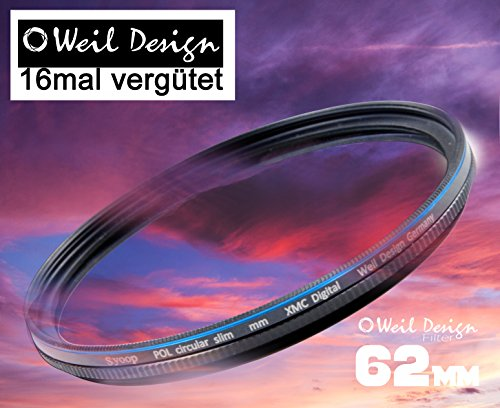 Polfilter POL 62 Circular Slim XMC Digital Weil Design Germany SYOOP * Kräftigere Farben * mit Frontgewinde, 16 Fach XMC vergütet * inkl. Filterbox * zirkulare (62 mm)