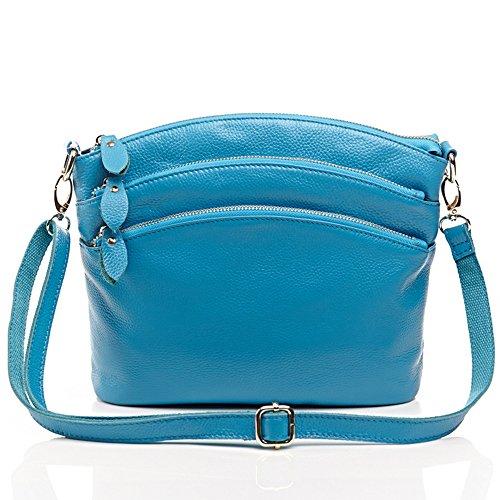 MeiliYH Lady Weiche Litschi Muster Leder Handtasche Schulter diagonal Tasche für Frauen Meeresblau