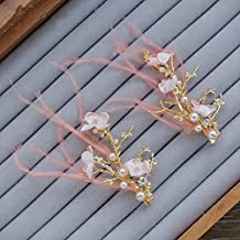 &zhou Tocado novia, horquilla novia plumas hecho a mano, rosa, vestido de novia, adornos para el pelo, joyería de la boda