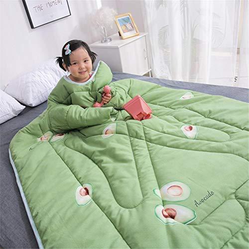 soundwinds Decke mit Ärmeln Erwachsene Kinder Tragbare Decke Tragbare Dicke Warme Kuschelige Decke mit Ärmeln Waschbare Wickeldecke aus Baumwolle für die Lounge-Couch Lesen Fernsehen